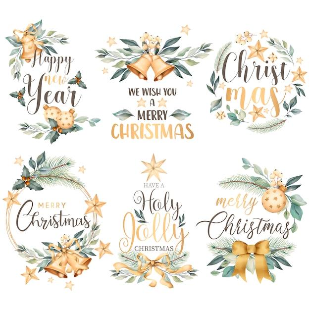 Colección floral de insignias navideñas en estilo acuarela vector gratuito