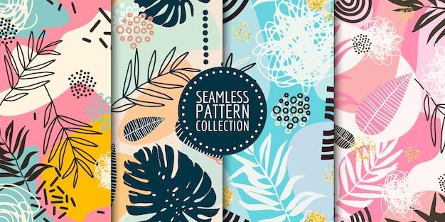 Colección floral de patrones sin fisuras Vector Premium