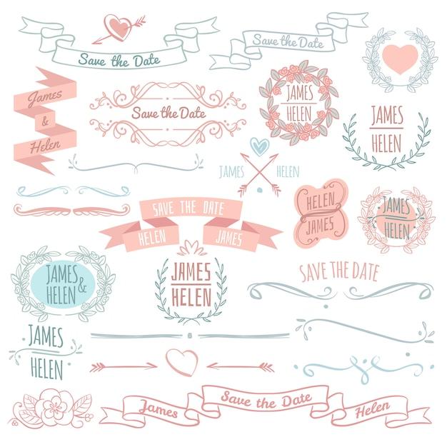 Colección floral del vector de los elementos de la decoración de la boda con los marcos, las banderas y los monogramas dibujados mano de la guirnalda. ilustración de diseño de decoración de boda Vector Premium