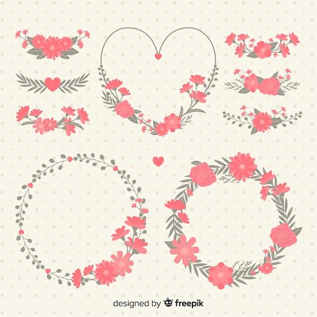 Colección flores día de san valentín vector gratuito