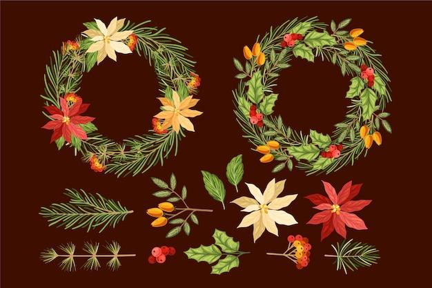 Colección de flores y guirnaldas navideñas dibujadas a mano vector gratuito