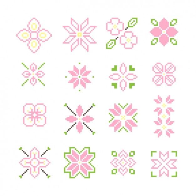 Colección de flores pixeladas | Descargar Vectores gratis