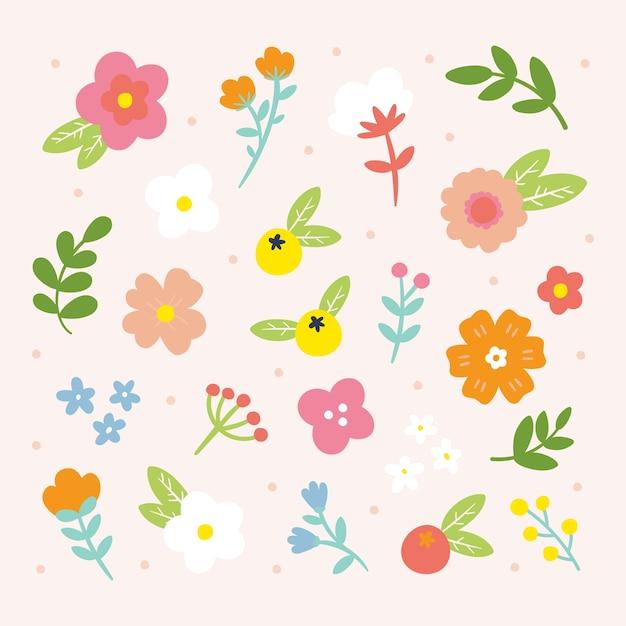 Colección de flores de primavera dibujadas a mano vector gratuito