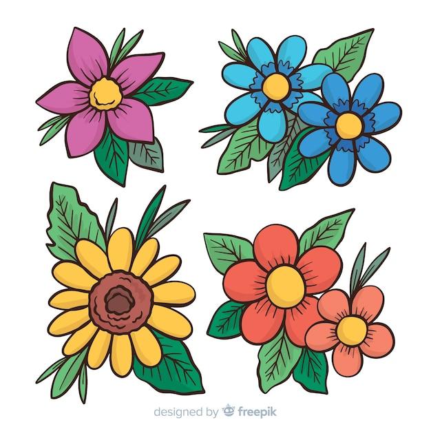 Coleccion Flores Primavera Dibujo Animado Descargar Vectores Gratis