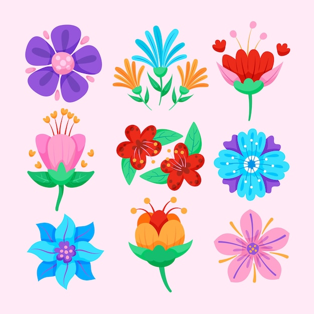 Colección de flores de primavera de estilo plano vector gratuito