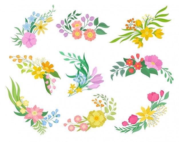 Colección de flores sobre fondo blanco. concepto de primavera y floral. Vector Premium