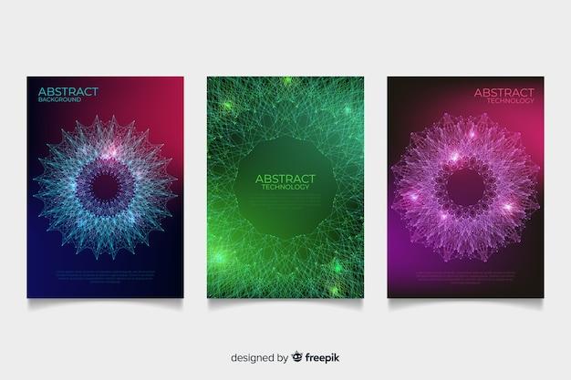 Colección folletos estilo tecnológico vector gratuito