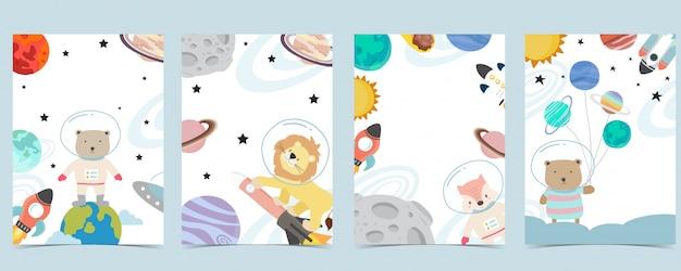 Colección de fondo espacial con astronauta, planeta, luna, estrella, cohete, animal. ilustración editable para sitio web, invitación, postal y pegatina Vector Premium