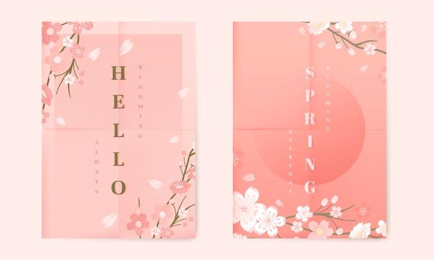 Colección de fondo de flor de cerezo vector gratuito