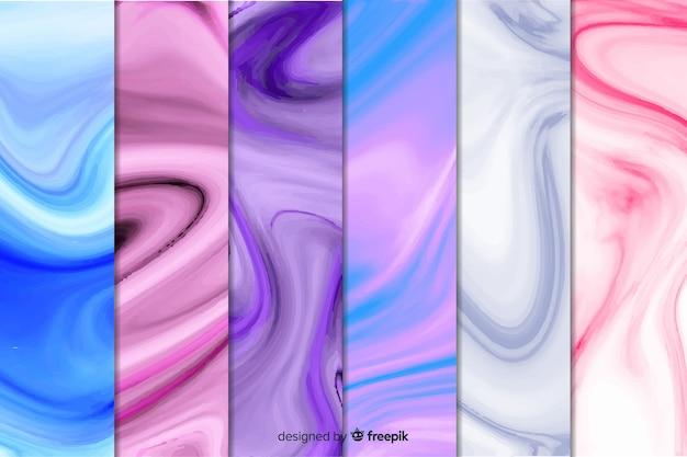Colección de fondo de mármol colorido vector gratuito