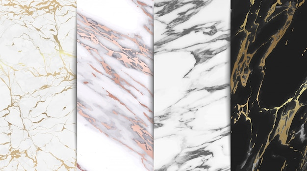Colección de fondo de textura de mármol de lujo Vector Premium