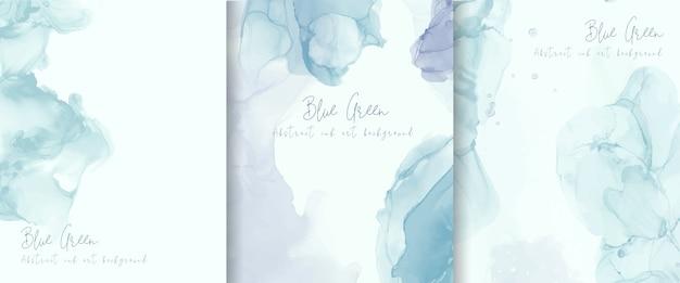 Colección de fondo de tinta de alcohol azul claro. diseño de pintura de arte fluido abstracto. vector gratuito