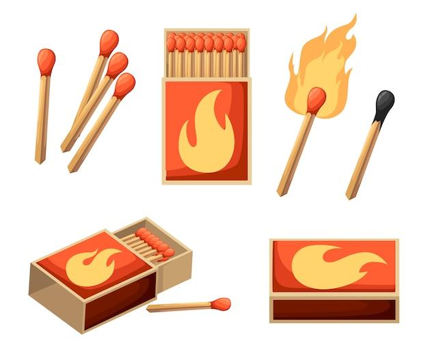 Colección de fósforos. cerilla encendida con fuego, caja de cerillas abierta, cerilla quemada. estilo. ilustración sobre fondo blanco Vector Premium