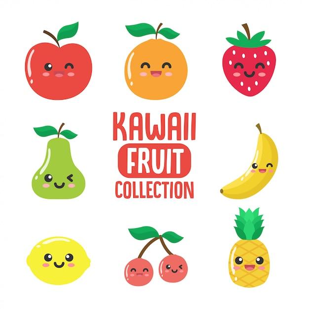 Colección de fruta kawaii. Vector Premium