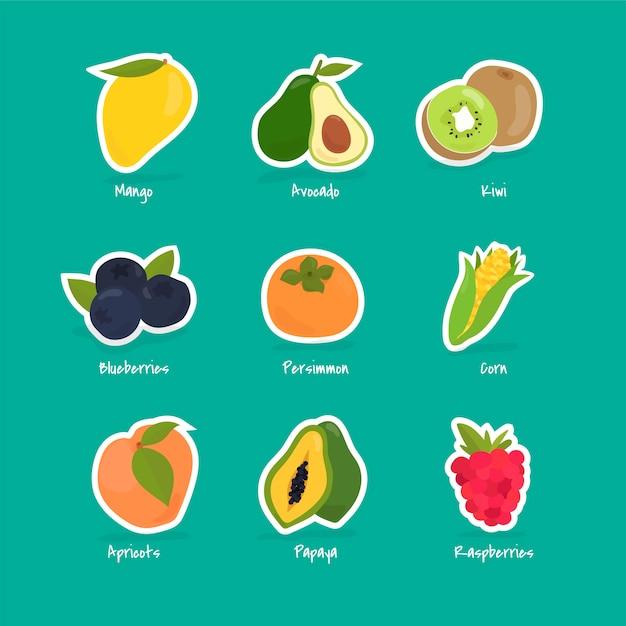 Colección de frutas y bayas vector gratuito