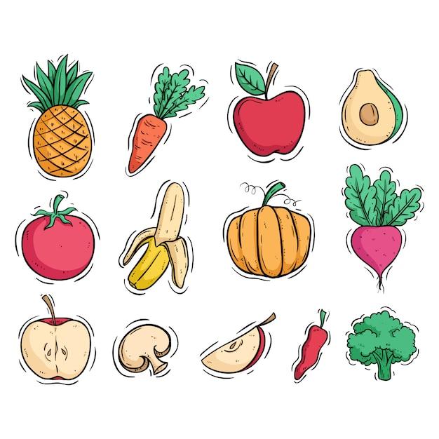 Colección de frutas y verduras con estilo doodle coloreado. Vector Premium