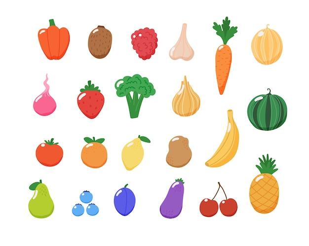 Colección de frutas y verduras. Vector Premium