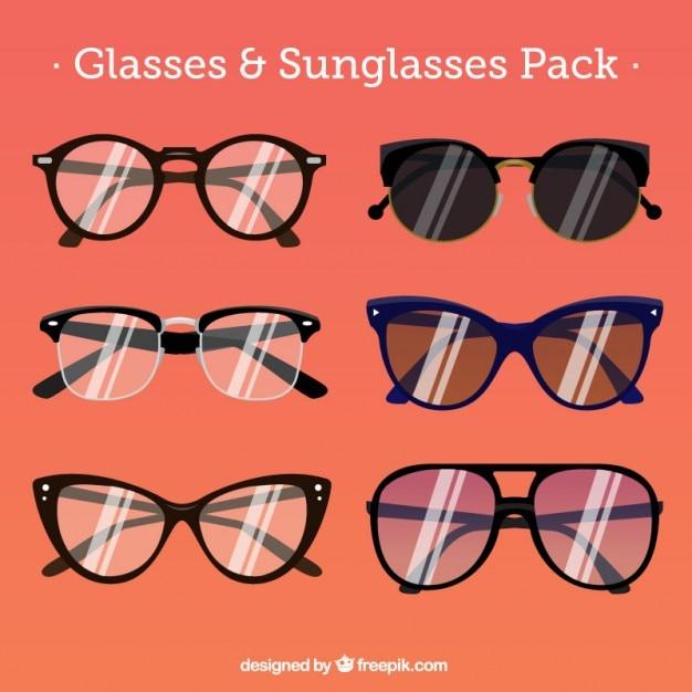 Colección de gafas estilizadas Vector Premium