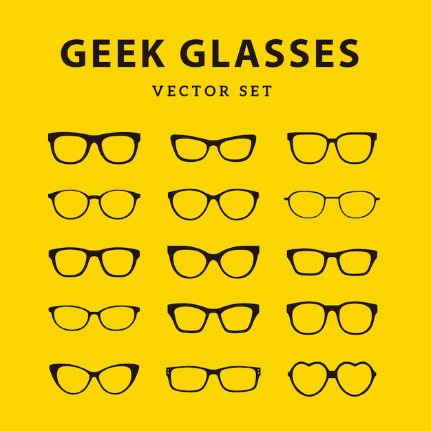 Colección de gafas frikis vector gratuito