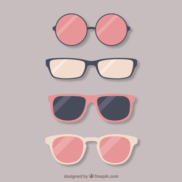 Colección de gafas preciosas vector gratuito