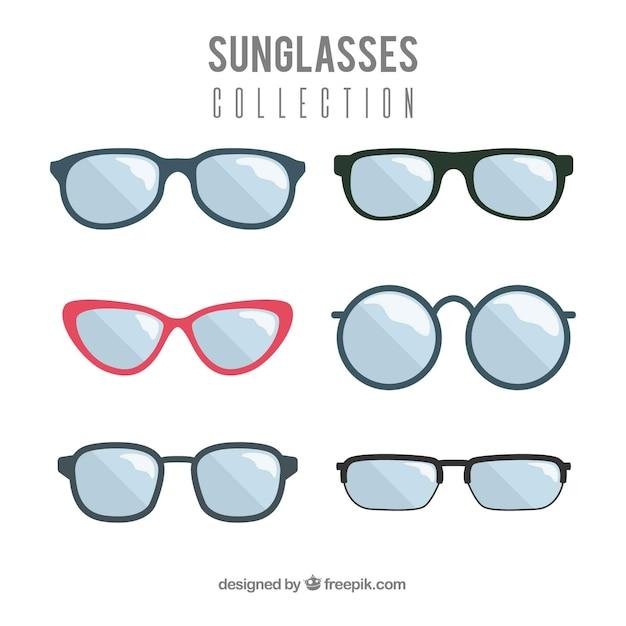 Colección de gafas de sol modernas en estilo plano vector gratuito