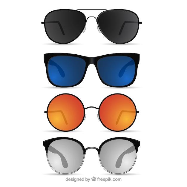 Colección de gafas de sol realistas vector gratuito