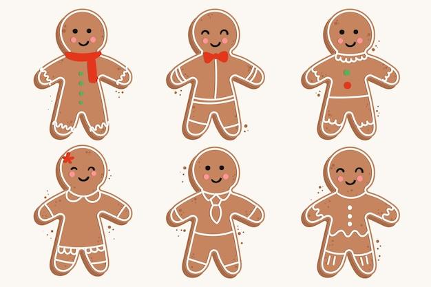 Colección de galletas de hombre de jengibre dibujado a mano vector gratuito