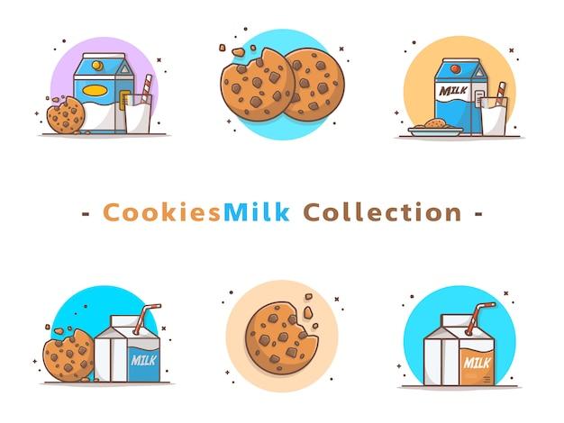 Colección de galletas y leche Vector Premium