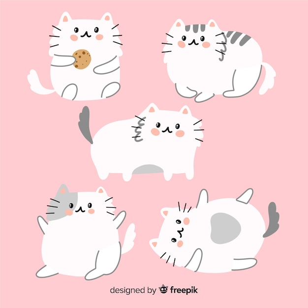 Colección gatos adorables dibujados a mano vector gratuito