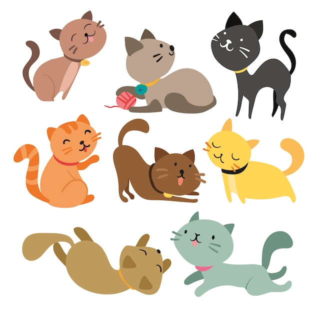 Colección de gatos a color vector gratuito