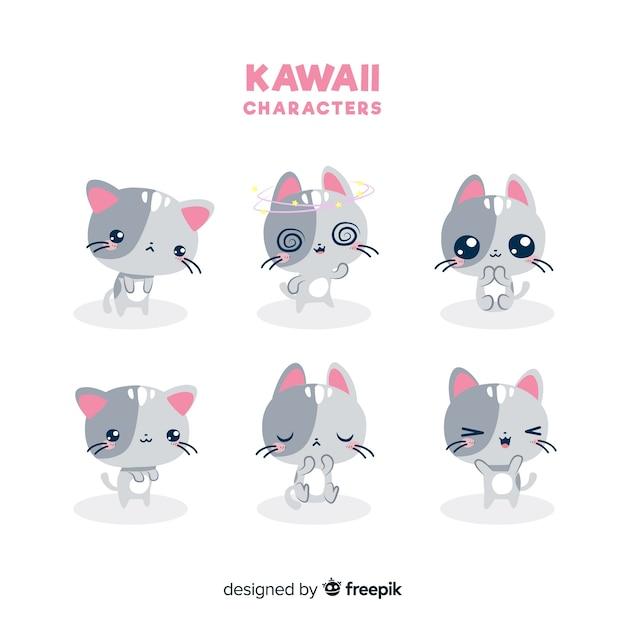 Colección gatos kawaii dibujados a mano vector gratuito
