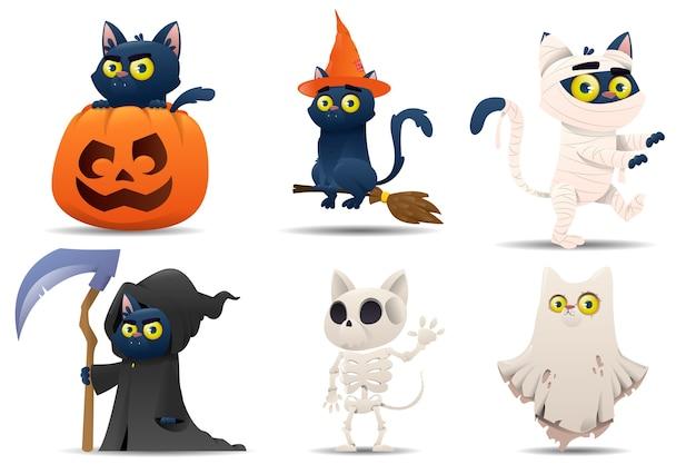 Colección de gatos de personajes de halloween Vector Premium