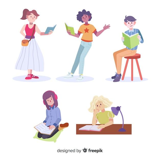 Colección de gente joven leyendo vector gratuito