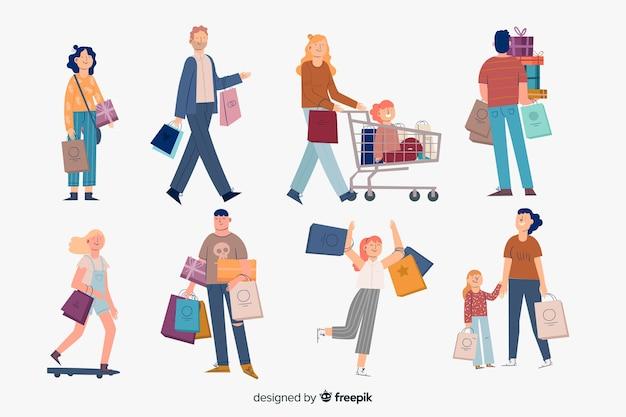 Colección de gente llevando bolsas de la compra vector gratuito