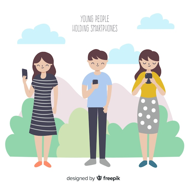 Colección gente usando smartphone dibujada a mano vector gratuito