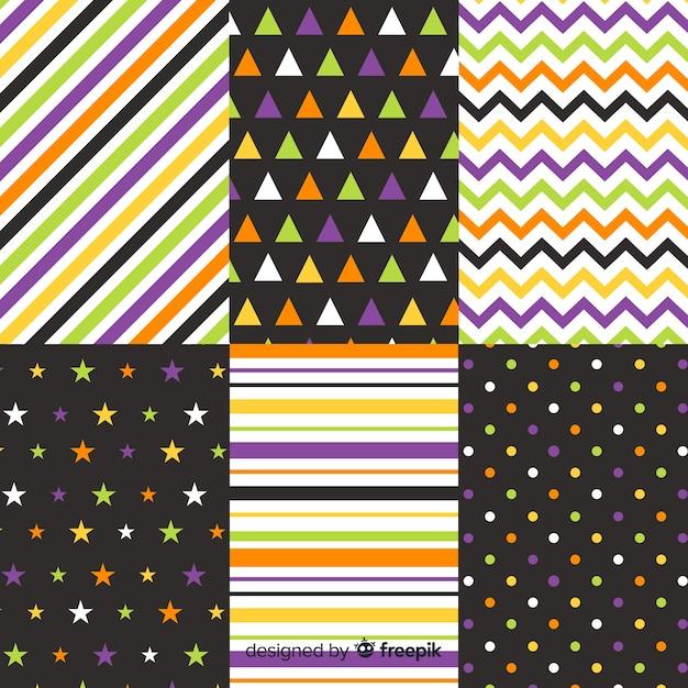 Colección geométrica de puntos y líneas de halloween vector gratuito