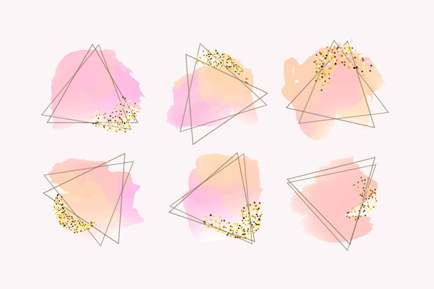 Colección glitter frame con pinceladas vector gratuito