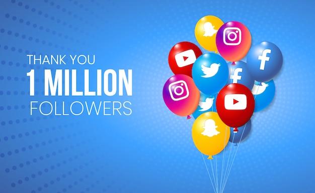 Colección de globos 3d social media para presentación de logros de hitos y pancartas Vector Premium