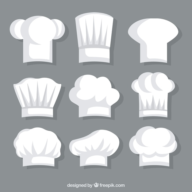 Colección de gorros blancos de chef vector gratuito