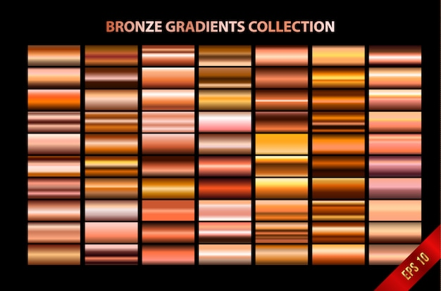 Colección de gradientes de bronce Vector Premium