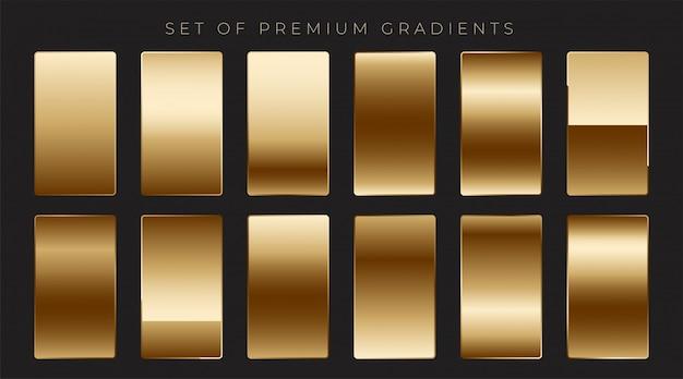 Colección de gradientes dorados metálicos brillantes vector gratuito