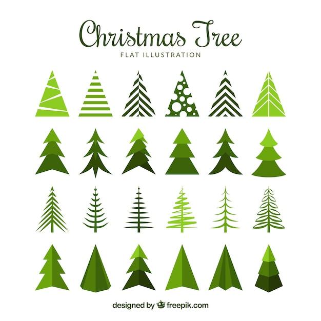 Coleccion Grande De Arboles De Navidad En Diseno Plano Descargar - Arbol-navidad-diseo