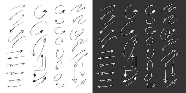 Colección grande de flechas en estilo de dibujo a mano a lápiz Vector Premium