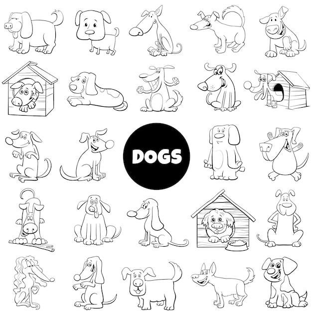 Colección grande de personajes de perros y cachorros Vector Premium