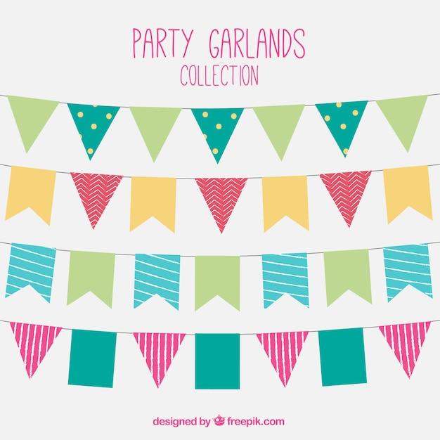Colección de guirnaldas de colores en diseño plano vector gratuito
