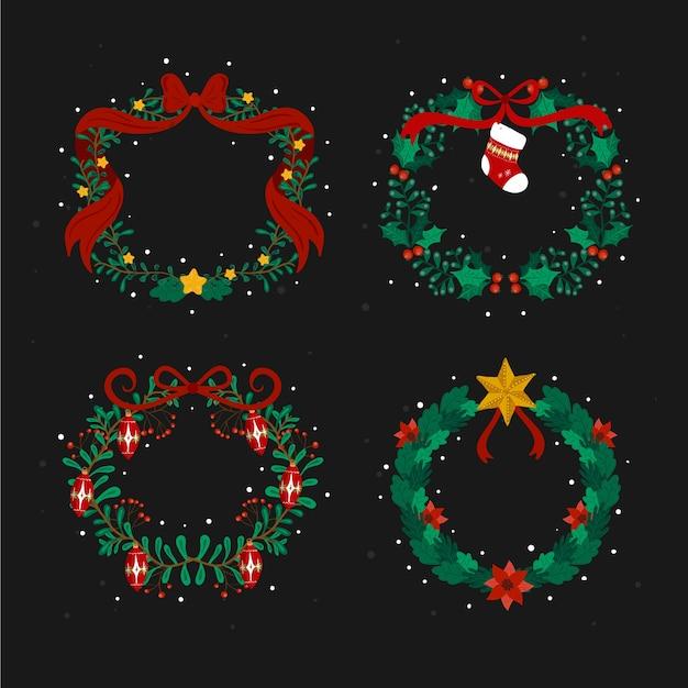Colección de guirnaldas de navidad dibujadas a mano vector gratuito