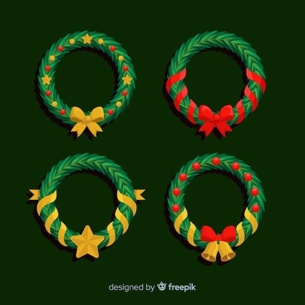 Colección de guirnaldas navideñas de diseño plano vector gratuito