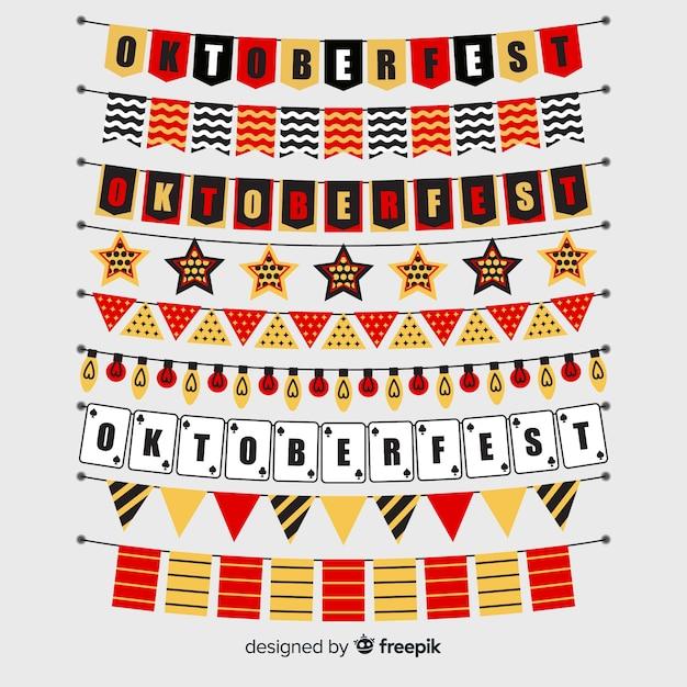 Colección de guirnaldas de oktoberfest de diseño plano vector gratuito