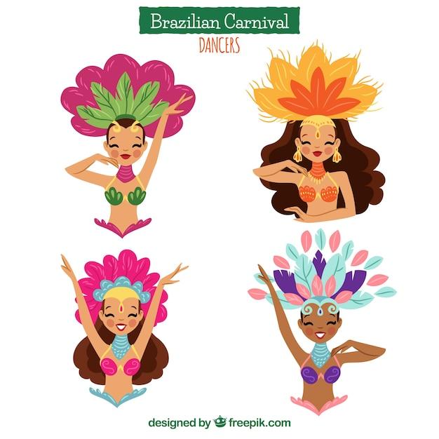 Colección hecha a mano de bailarines de carnaval brasileño vector gratuito