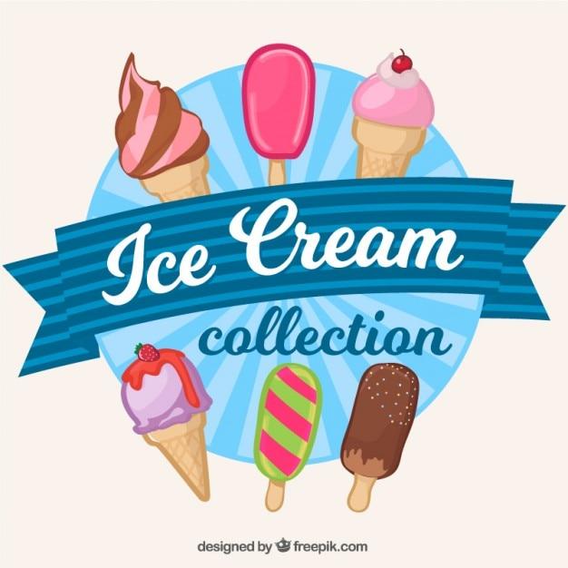 Colección de helados dibujados a mano vector gratuito
